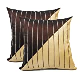 Zikrak Exim Line Embroidery Cushion Cover Brown & Beige 2 Pcs Set 40 X 40 Cm