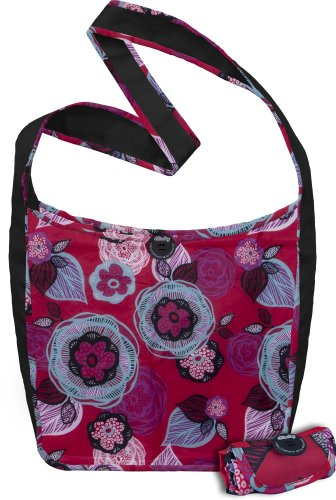 51r2NBJwoPL ChicoBag Sidekick Cross Physique Reusable Shopping Tote/Grocery Bag with Pouch, Boysenberry Bliss, 14 x 13.5 Inch Bag/four x two Inch Pouch Reviews