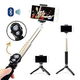 Selfie Stick, GMYLE® Aluminium Telescopic Monopod Pole with Tripod Stand and Bluetooth Remote Shutter (Champagne Gold)