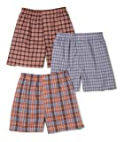 Fruit of the Loom Mens 3-Pack Assorted Tartan Plaids Woven Boxers (Colors/Patterns Will Vary)