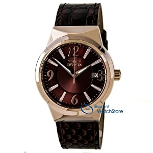 Invicta 15412 Women's Angel Brown Dial Rose Gold Steel Brown Leather Strap Watch