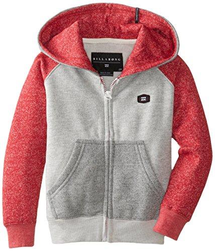 Billabong Little Boys' Kids Balance Fleece Zip Hoodie, Red Heather, 5 front-868246