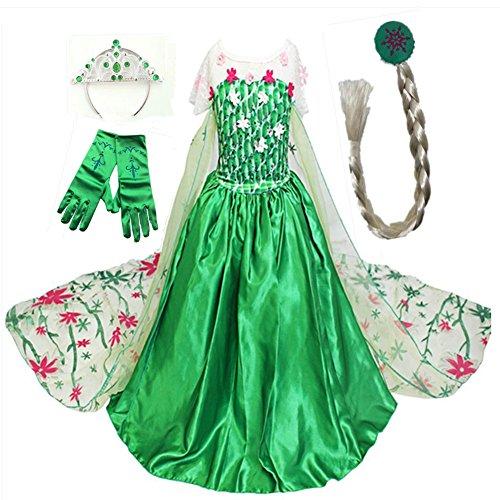 GenialES Disfraz de Vestido Princesa Verde Capa Larga Estampada con Guantes Trenza Diadema Lindo Disfraz de Cumpleaños Carnaval Fiesta Cosplay Boda Halloween para Niñas Talla 140