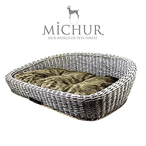 MICHUR SYLT SAND DUNE, dog basket, dog sleeping place, dog bed, dog house, dog cave, willow, wicker, grey (sand dune) incl. luxury pillow, available in different sizes - GERMAN BRANDNAME QUALITY!!!