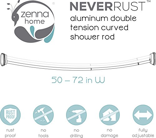 Zenna Home 35644bn Neverrust Aluminum Double Curved Tension Shower Curtain Rod 50 To 72 Inch