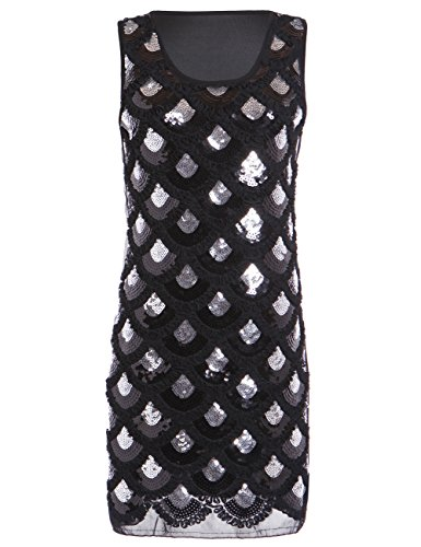 KAYAMIYA Women's Art Deco Glitter Diamond Fishscale Beaded Flapper Gatsby Dress