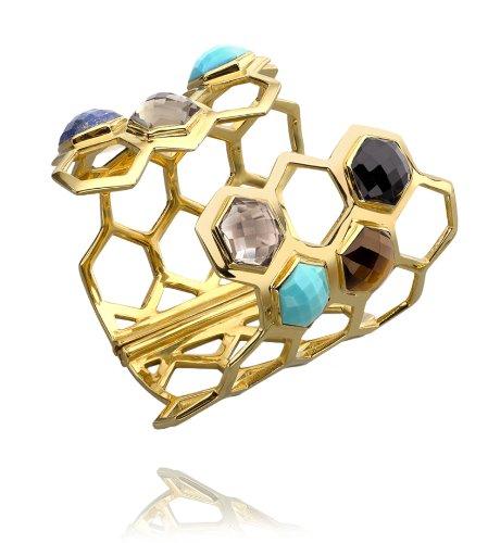 Missoma 18ct Gold Vermeil Statement Hex Cuff with Multi Gemstones