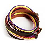 Real Spark Simple Style Multi Strand Adjustable Length Two Rings Leather Wrap Bracelet