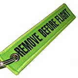 Remove Before Flight Keychain - Lime Green