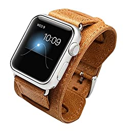 iWatch leather Band, Jisoncase 4 Piece-Set Apple Watch Genuine Leather Watch Band Interchangeable iWatch Strap Set for Apple Watch 42MM All Models - Brown (JS-AW4-12A20)