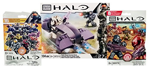 Mega Bloks Halo Bundle - Rapid Attack Covenant Ghost (97213) + Series 7 & Series 8 Action Mini Figure Blind Bag Mystery Packs (1 Pack of Each) (Mystery Quad compare prices)