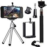 3in1 Accessori Selfie Stick Monopiede telescopico + Mini Treppiedi + Telefono Supporto Per iPhone 6 6 plus 5S 5, 4s Galaxy S5 S4 GoPro Hero 2 3 3+ 4 OS091