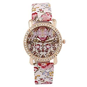 Cosmic Pink and White Flower Strap With Flower Dial Designer Watch For Women