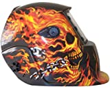 Solar Powered Auto Darkening Welding Helmet Skull Flame