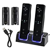 eForCity® Dual Charging Station w/ 2 Rechargeable 2800 mAh Batteries & LED Light Compatible With Wii Remote Control, Black