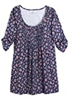 Plus Size Tunic Top With Graduated Pleats Floral Print Henley
