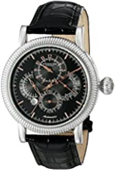 Stuhrling Original Men's 97BB.33151 Symphony Timemaster Automatic Date Multi-Function Black Leather Strap Watch