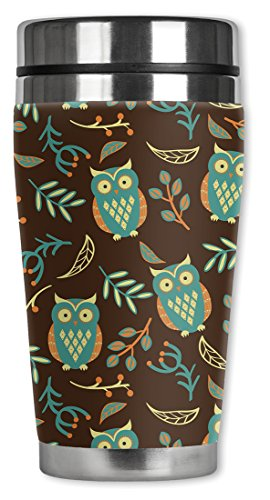 Mugzie Brown Owls Travel Mug with Insulated Wetsuit Cover, 16 oz, Multicolor