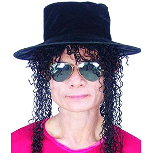 Adult 80's Pop Star Costume Wig And Hat Set
