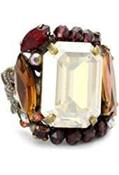"""Sorrelli """"Maple Syrup"""" Luxe Crystal Adjustable Goldtone Ring"""