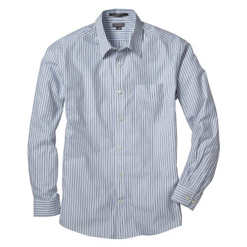(エディー・バウアー) Eddie Bauer 長袖リンクルフリーピンポイントオックスフォードブルースパターンレギュラーカラーシャツ(スカイブルー L)