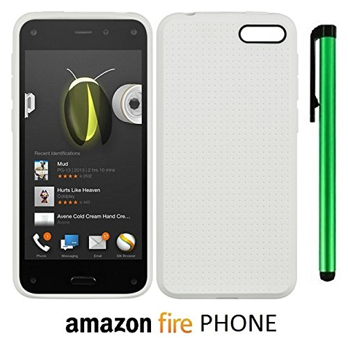 Amazon Fire Phone Flex TPU Dot Design Back Cover Case (US Carrier: AT&T; released in July 2014) + 1 of New Assorted Color Metal Stylus Touch Screen Pen (WHITE) image