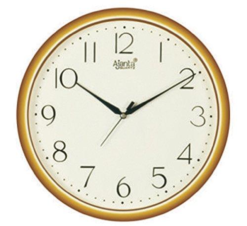 Ajanta Quartz Golden Ring Plastic Wall Clock-497 (28cm x 28cm, Ivory)