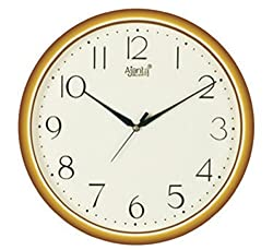 Ajanta Quartz Golden Ring Plastic Wall Clock (28Cm X 28Cm), Ivory
