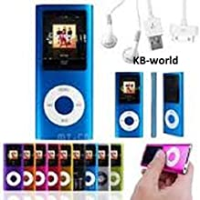 """32gb Blue Slim 1.8"""" 4th LCD Mp3 Mp4 Player Fm Radio Video Player with Accessories"""