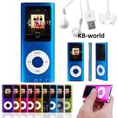 32gb Blue Slim 1.8″ 4th LCD Mp3 Mp4 Player Fm Radio Video Player with Accessories
