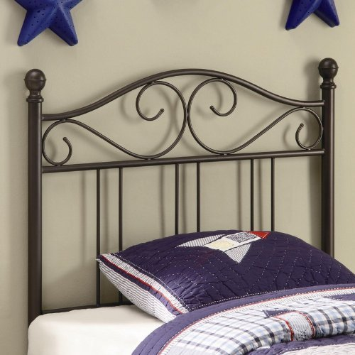 Cheap Twin Size Kid Headboard with Swirling Accents in Glossy Finished Dark Metal (VF_450103T)