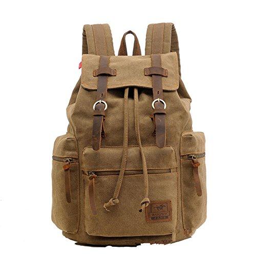 Sechunk Multifunzionale in pelle Cotton Canvas zaino Bookbag Laptop Bag di lavoro Viaggio Borsone escursionismo sacchetto di campeggio del sacchetto Zaino Laptop Bag Computer Bag Weekend Daypack sacch