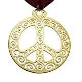 Filigree Peace Symbol Gold-DippedOrnament with Ribbon