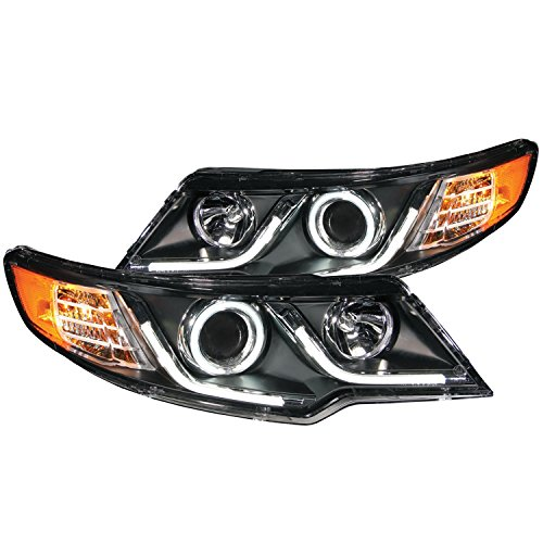 AnzoUSA 121458 Black/Clear/Amber Halogen Projector Headlight for Kia Forte (Headlights Koup compare prices)