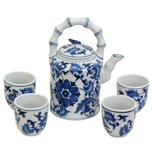 Oriental Furniture Unique, Thoughtful, Practical Gifts, Chinese Blue And White Tea Set, Floral Design