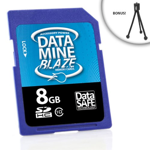 Blazing High-Speed Class 10 DataMINE 8GB SDHC Flash Memory Card for PlayTouch / Playsport ZX3 / Kodak and More High Definition Pocket Video Cameras ** Includes Tripod**