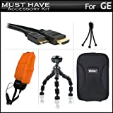 Must Have Accessories Kit For GE Active DV1-GG, DV1-AB, DV1-CO, DV1-LG, DV1-LG, DVX Waterproof/Shockproof 1080P Pocket Video Camera Includes Mini HDMI Cable + Hard Case + FLOAT STRAP + 7