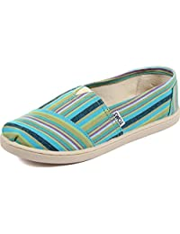 Toms - Youth Slip-On Shoes In Blue Cultural Stripe