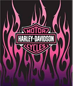 "Amazon.com: Harley Davidson ""Pink Flames"" Plush Queen Blanket 76""x94"