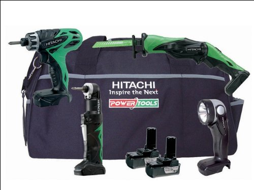 Hitachi KTL410DD 4 Piece Cordless Tool Kit (10.8 V, 2 x Li-ion Batteries  &  Bag)