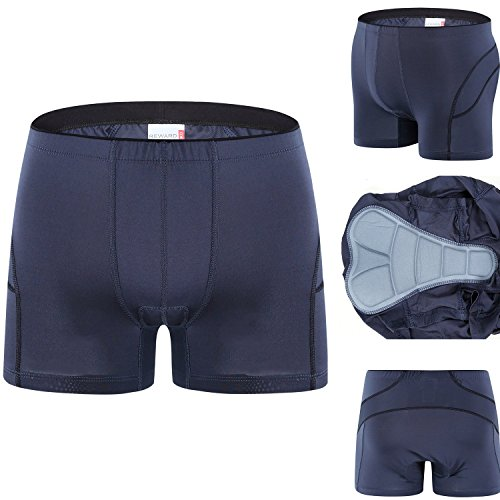 Spotti Padded Bicycle Touring Underwear - Under Liner Bike Short - Thin Pad (Black, Waist 34-36