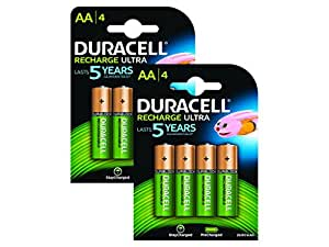 Duracell Pre Charged Rechargeable 2500mAh AA Batteries--Pack of 8