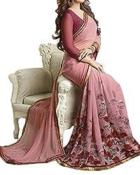 Pramukh saris Womens Georgette Flower Printed Sari(Pink)