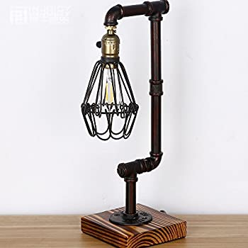 Injuicy Lighting Loft Vintage Industrial Water Pipe / Wood Table Light Edison Desk Accent Lamp