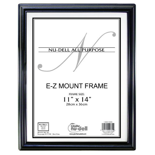 "11"" X 14"" Ez Mount Document Frame Plastic Face, Black W/ Gold Trim front-717426"