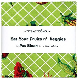 "Pat Sloan EAT YOUR FRUITS N VEGGIES 5"" Charm Pack Fabric Quilting Squares Moda 43000PP"