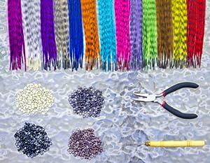Wadoy Lot de 26 extensions en plumes pour cheveux + Pinces pliantes + Crochets