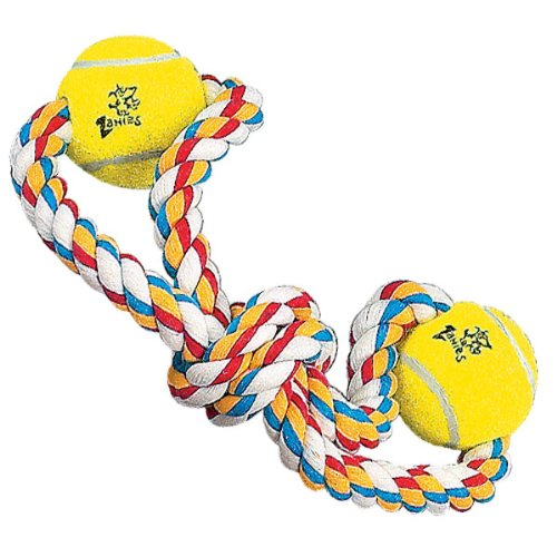 Zanies Cotton Knotted Rope With Two Tennis Balls Dog Toy, Twin Loop, 14-Inch