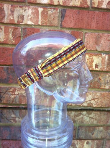 Inspirit Arts Large Earthtone Headband Expandable Handwoven Open Net Weave Lightweight Bandana Headwrap Elastic 100% Cotton Hair Scarf front-623943