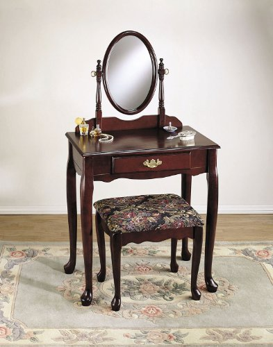Powell Cherry Vanity/Mirror/Bench Set